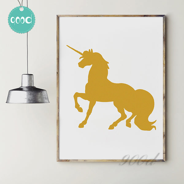 Gold Unicorn Print Canvas Art Print Painting Poster,  Wall Picture for Home Decoration,  Wall Decor YE045