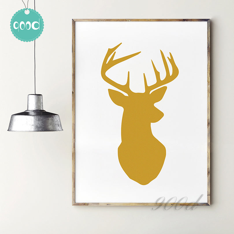 Gold Deer Head Canvas Art Print Painting Poster,  Wall Pictures for Home Decoration, Home Decor YE56