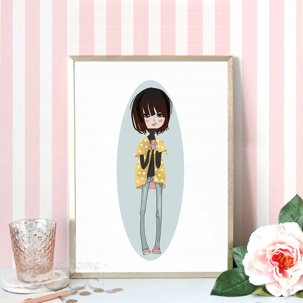 Fashion Girls Canvas Art Print Poster,  Wall Pictures for Girl Room Decoration, Giclee Wall Decor CM023