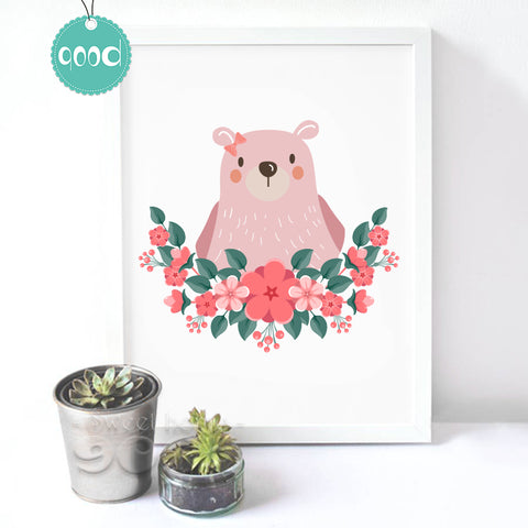 Princess Bear Canvas Art Print Poster, Wall Pictures for Home Decoration, Wall Decor FA238-1