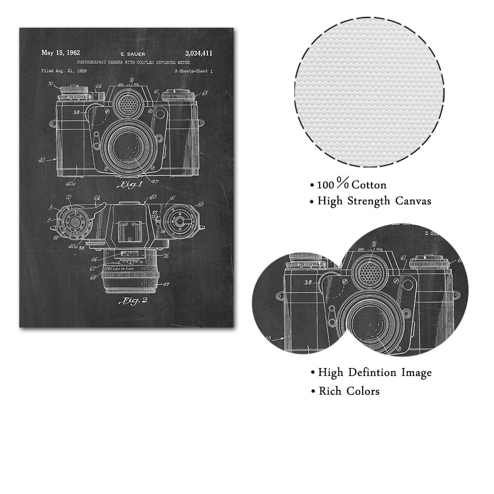 20x40cm Canvas Painting Camera Patent Vintage Print Abstract Retro Camera Blueprint Painting Pictures for Photography Wall Decoration Frameless