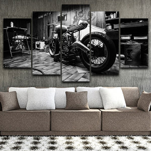 Wall Art Modular Pictures 5 Pieces Canvas Printed Retro Motorcycle Poster Home Decoration Modern Painting For Living Room Framed