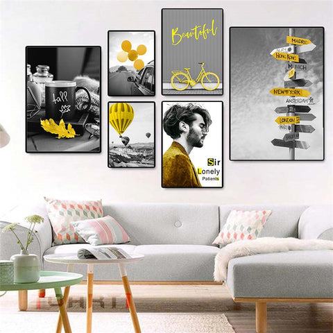 Yellow Style Scenery Picture Home Decor Nordic Canvas Painting Wall Art Poster Figure Landscape Modern Poster for Living Room