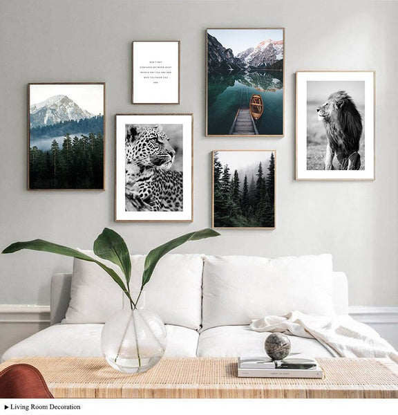 Foggy Forest Leopard Lion Nature Landscape Picture Scandinavian Poster Nordic Style Canvas Print Painting Living Room Decoration