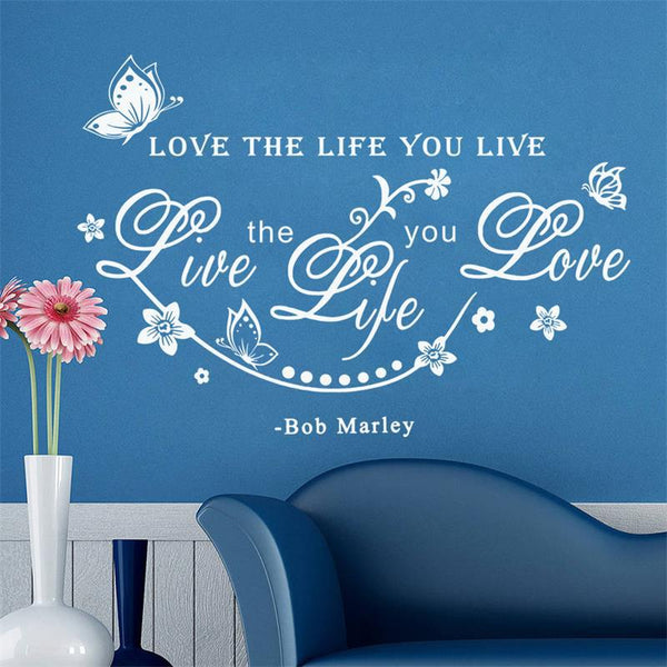 "Bob marley vinyl wall decals Inspirational quotes lettering words sticker ""love the life you live.""living room decor"