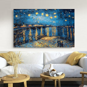 Elegant Poetry Starry Night on the Rhone River by Vincent Van Gogh Famous Artist Art Print Poster Wall Picture Canvas Painting