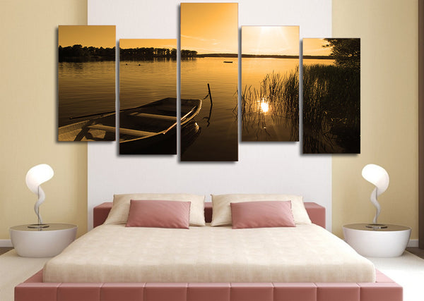 HD Printed zakat ozero lodka priroda Painting on canvas room decoration print poster picture canvas Free shipping/ny-5022