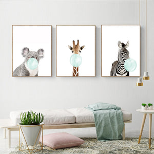 Cute Blue Bubble Gum Animal Zebra Giraffe Koala Kangaroo Canvas Art Abstract Painting Print Poster Picture Wall Home Decoration