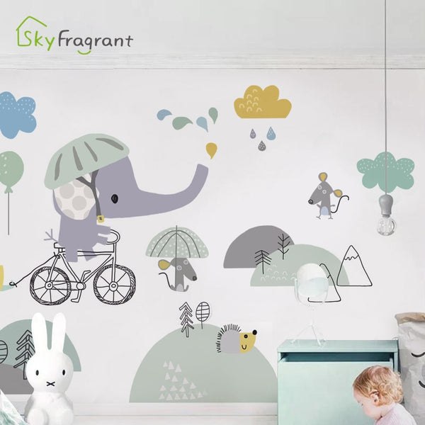Cartoon baby elephant wall sticker kids room decoration bedroom wall decor self-adhesive stickers for home house decoration