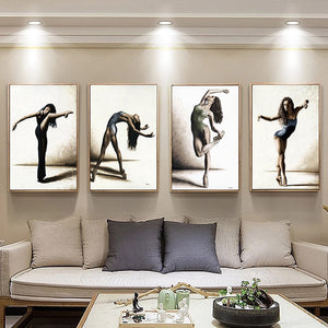 Ballet Dancing Picture Home Decor Nordic Canvas Painting Wall Art Poster Europe Drawing Figure for Retro Minimalist Living Room