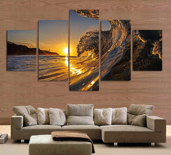 HD Printed wave in the sunset beach Painting Canvas Print room decor print poster picture canvas Free shipping/ny-2964