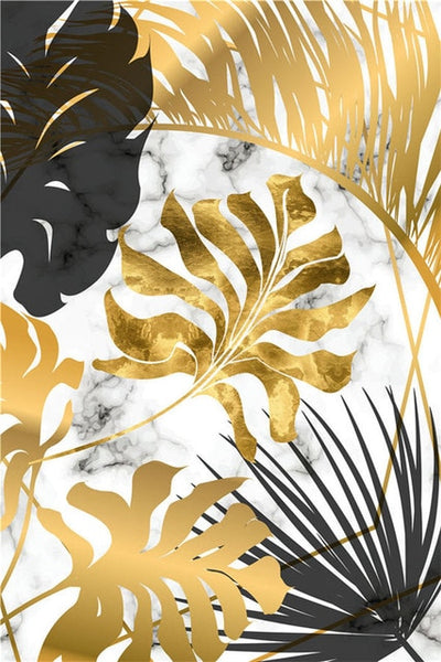 Gold Tropical Leaf Poster Home Decor Nordic Canvas Painting Wall Art Print Plant Marbling Luxury Decor for Living Room Painting