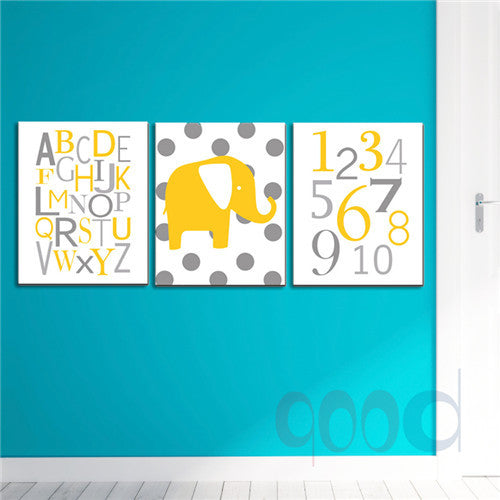Cartoon Elephant Chevron Print Canvas Painting Poster, Wall Pictures For Nusery Room Home Decoration Print On Canvas,  set of 3