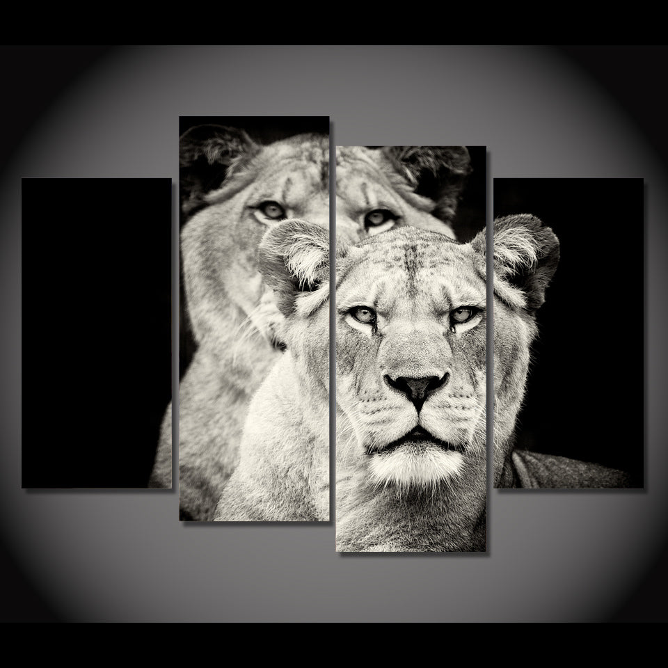 Hd printed 4pcs black and white lion painting on canvas room decoration print poster picture canvas