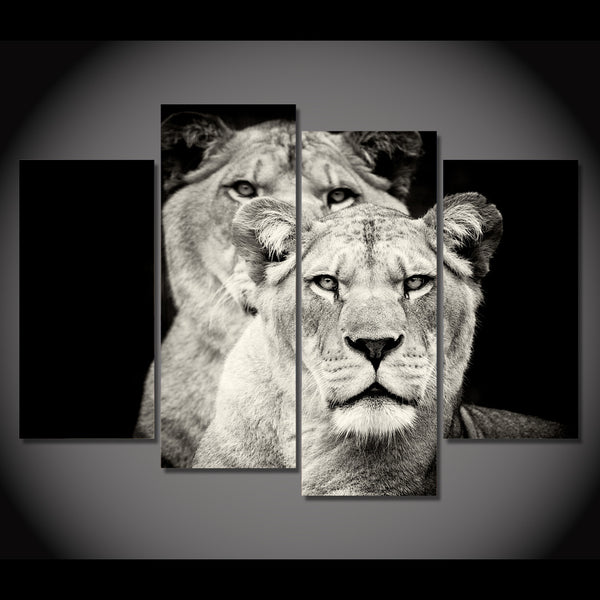 HD Printed 4pcs Black and white lion Painting on canvas room decoration print poster picture canvas framed Free shipping/NY-5726