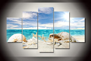 HD Printed Shell Beach Group Painting Canvas Print room decor print poster picture canvas Free shipping/ny-1426
