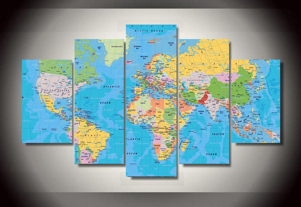 HD Printed World Map Group Painting Canvas Print room decor print poster picture canvas Free shipping/ny-350