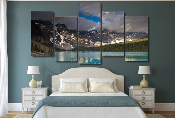 HD Printed dark clouds snow mountain lake Painting Canvas Print room decor print poster picture canvas Free shipping/ny-4315