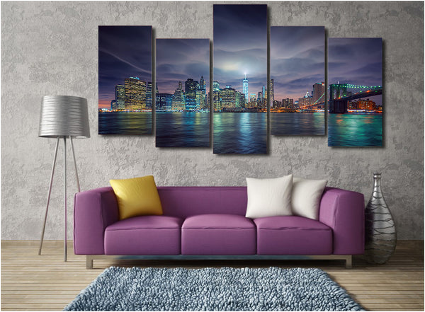 HD Printed ssha gorod nyu york vecher ogni Painting on canvas room decoration print poster picture canvas Free shipping/ny-4964