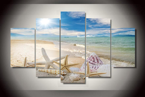 HD Printed Shell Beach Group Painting Canvas Print room decor print poster picture canvas Free shipping/ny-1425