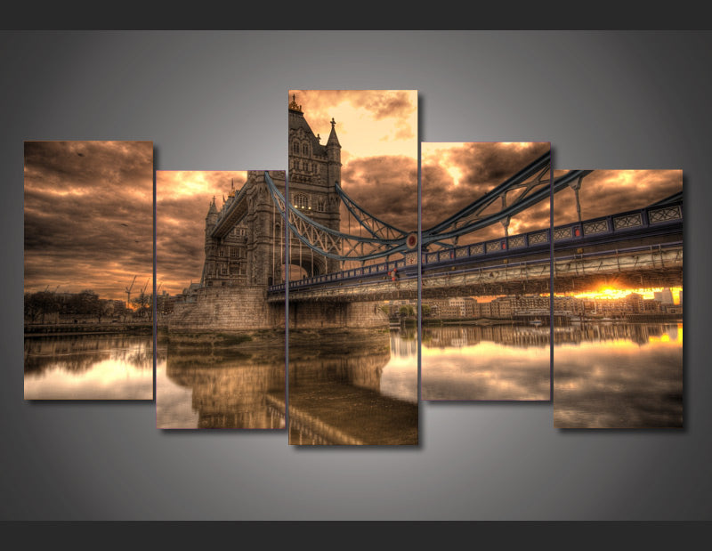 HD Printed clouds above tower bridge Painting on canvas room decoration print poster picture Free shipping/ny-2833