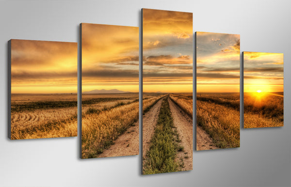 HD Printed country road at sunset Painting Canvas Print room decor print poster picture canvas Free shipping/ny-4523
