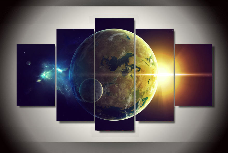 HD Printed planet oceans two light star Painting Canvas Print room decor print poster picture canvas Free shipping/ny-1550