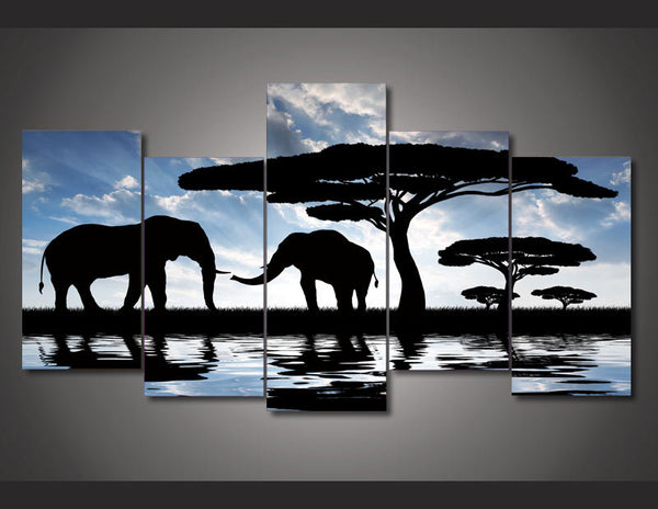 HD Printed African landscape elephant  picture Painting wall art room decor print poster picture canvas Free shipping/ny-749