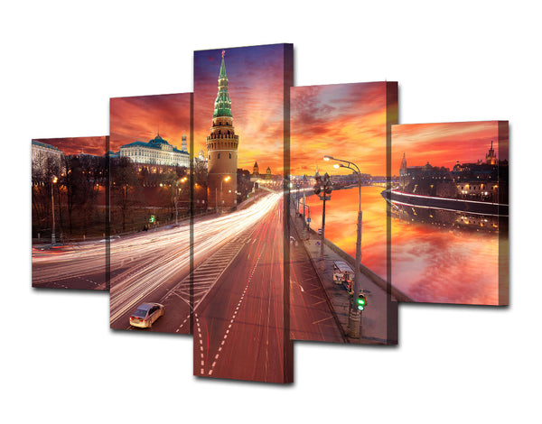 canvas Printed Red Sunset Over Moscow Kremlin Painting Canvas Print room decor print poster picture canvas Free shipping/NY-5732