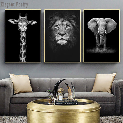 Elephant Zebra Lion Giraffe Rhino Black White Animal Canvas Painting Art Print Poster Picture Wall Nordic Decoration