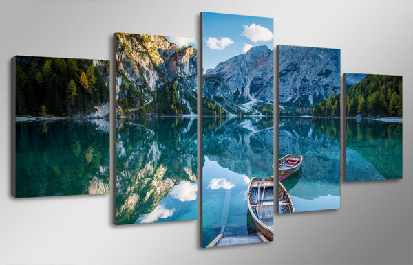 HD Printed ozero paluba lodki gory Painting Canvas Print room decor print poster picture canvas Free shipping/ny-5005