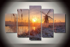 HD Printed Sunset reeds Windmill Painting on canvas room decoration print poster picture canvas Free shipping/ny-2123