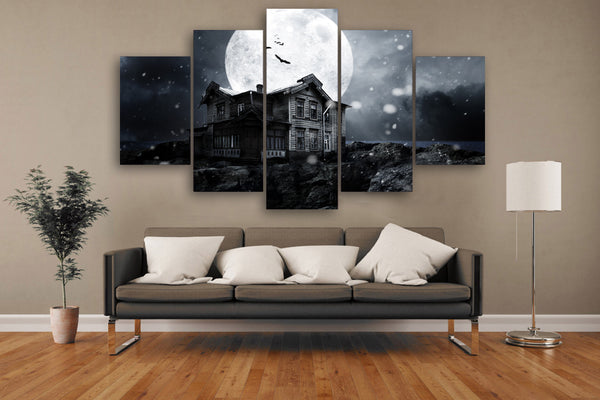 HD Printed Halloween haunted house full moon Painting Canvas Print room decor print poster picture canvas Free shipping/NY-5835
