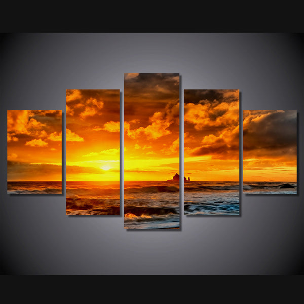 HD Printed more plyazh skaly zakat Painting Sea Sunset Canvas Print room decor print poster picture canvas Free shipping/ny-4535
