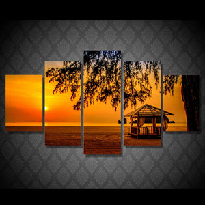 HD Printed  Sunset beach pavilion Painting Canvas Print room decor print poster picture canvas Free shipping/NY-5942