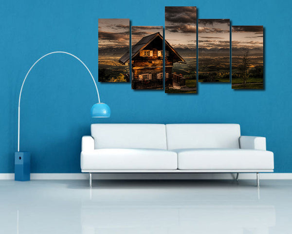 HD Printed Evening hills wooden house Painting on canvas room decoration print poster picture canvas Free shipping/ny-5018