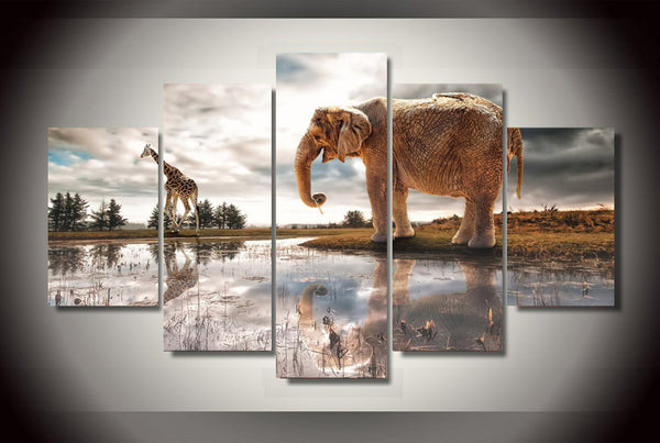 HD Printed Elephant and Giraffe Painting Canvas Print room decor print poster picture canvas Free shipping/ny-3093