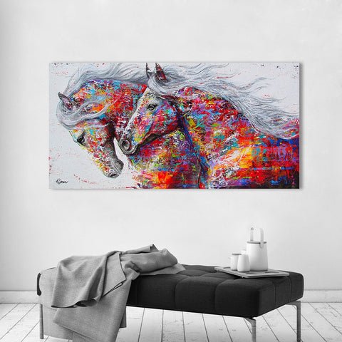HDARTISAN Wall Art Canvas Pictures The Horses For Living Room Animal Painting Home Decor No Frame