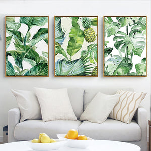 Nordic Canvas Painting Green Tropical Plant Leaves Art Print Poster Wall Pictures Modern Minimalist Bedroom Living Room Decor