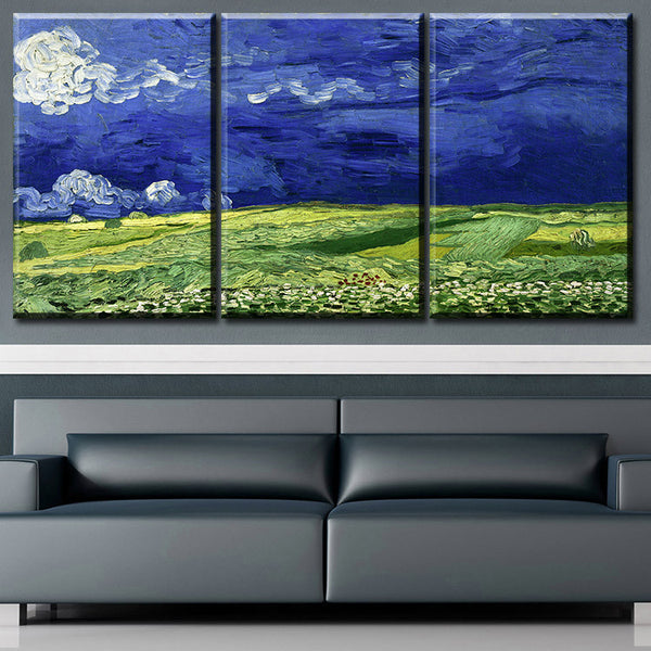 3 pcs Vincent van Gogh Wheatfield Under Thunderclouds Wall Picture Room Canvas Print Modern Painting Large Canvas Art Cheap