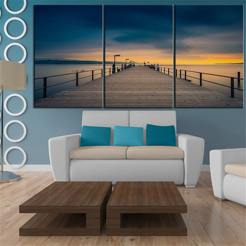 NO FRAME 3pcs wooden pier towards the golden sunset Printed Oil Painting On Canvas wall Painting for Home Decor Wall picture