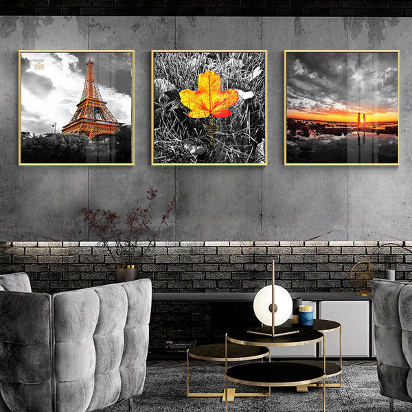 Modern Scenery Nordic Canvas Painting Print Wall Art Home Decor Poster Yellow Fresh Landscape Picture Art Painting for Bedroom