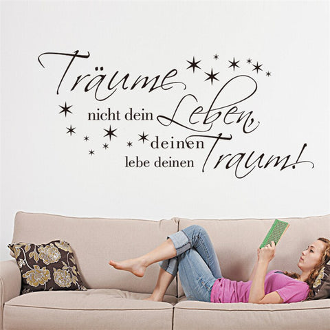 DREAMS NOT YOUR LIFE YOUR Dream Begins Star Wall sticker for kids rooms Bedroom Living room wall decals