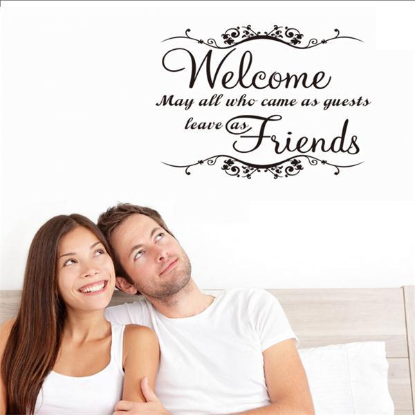 welcome friends FAMILY wall stickers waterproofing home decor home decoration wall stickers vinyl wall decals poster
