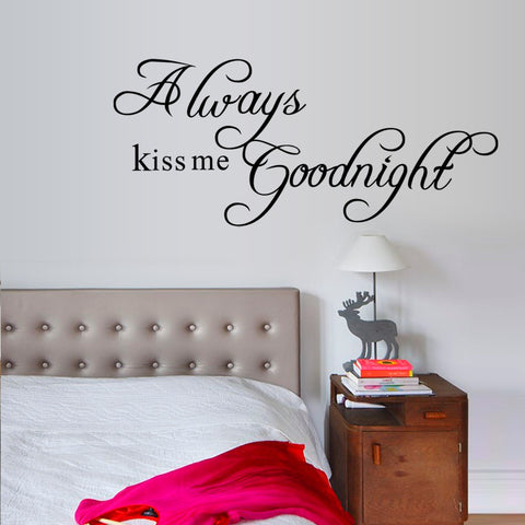 always kiss me goodnight kids bedroom wall decal quote 2003 decorative adesivo de parede wall sticker
