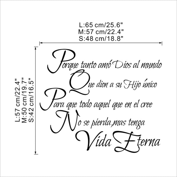 creative spanish letters christian quotes wall decals bedroom home decor religion bible vinyl wall stickers diy wallpaper