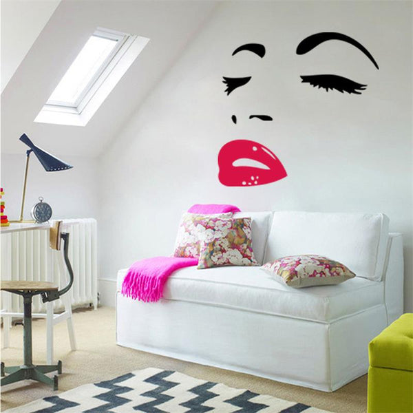 Hot Selling marilyn monroe quotes red lips wall stickers 8465 Home Decoration Wall Decals decorative wall paper