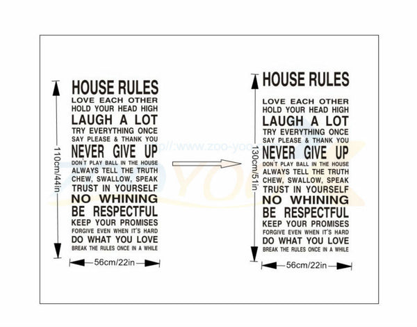 house rules Love Each Other Famous English family saying words decorative waterproof wall stickers decals