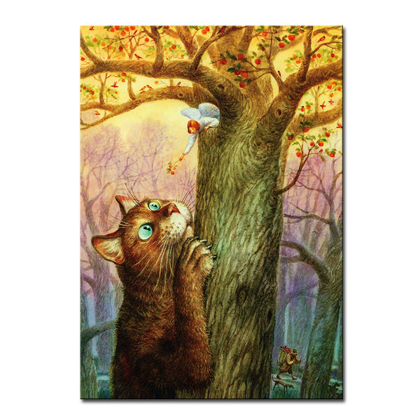 Vladimir Rumyantsev viewing on the tree cat world oil painting wall Art Picture Paint on Canvas Prints wall painting no framed