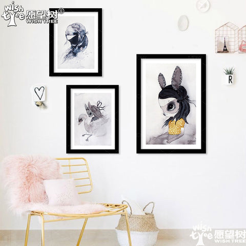 New Cuadros Nordic Duvar Tablolar Rabbit Girl Canvas Art Wall Art Canvas Painting Wall Pictures For Living Room No Poster Frame